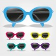 Set of colored sunglasses - Stock Vector