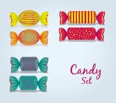Candy set rectangular, square and oval — Stock Vector