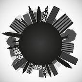 Planet med byggnader — Stockvektor