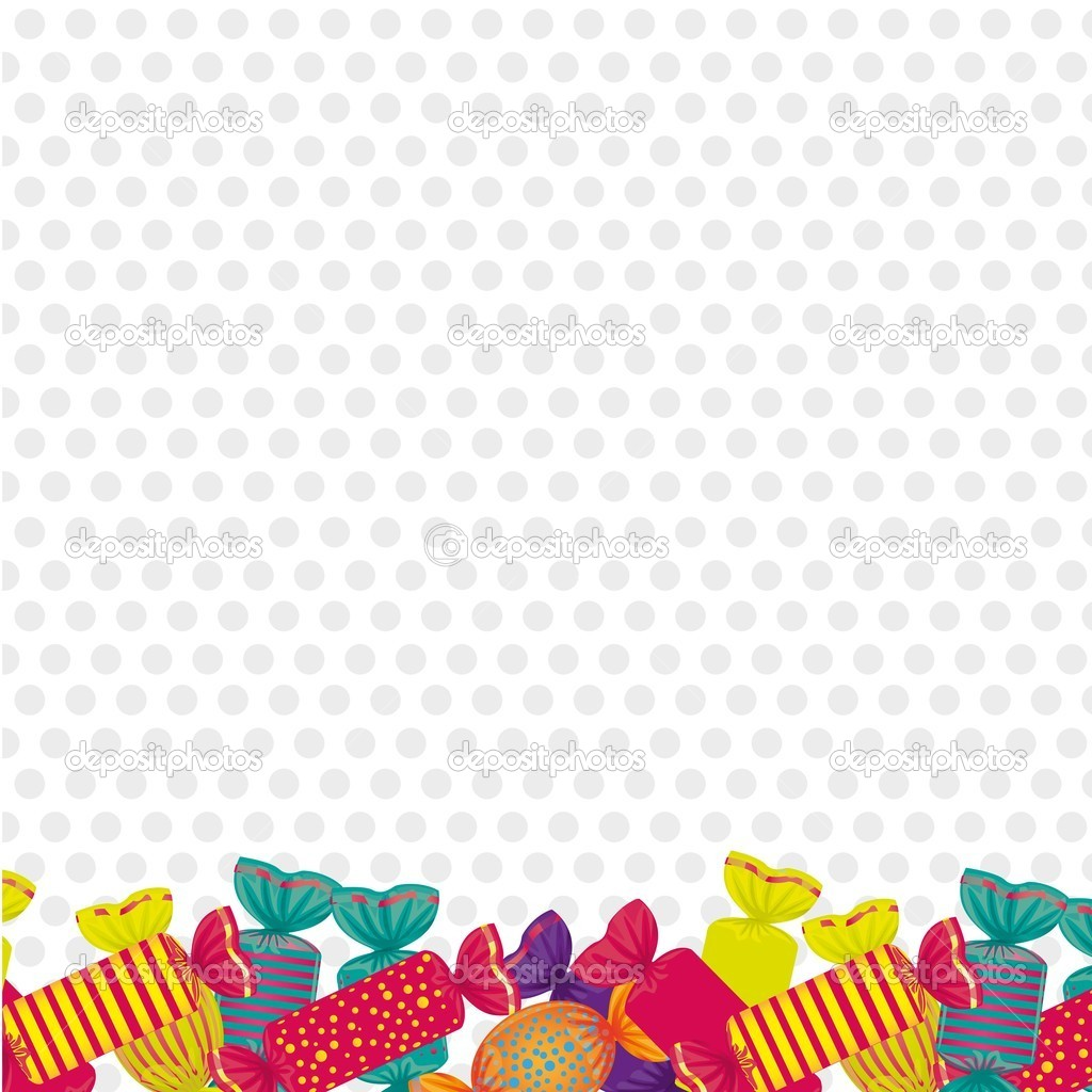 Candies at the bottom dotted background  Stock Vector #9964417