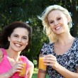 Stock Photo: Lovely Women Drinking Wine Outdoors