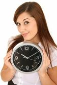 Beautiful Girl Holding a Clock — Stock Photo