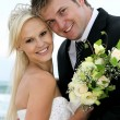 Lovely Wedding Couple at the Sea Side — Stock Photo #8504323