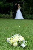 Beautiful Wedding Bouquet on Grass — Stock Photo