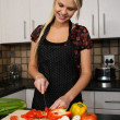 Gorgeous Blond Preparing Vegetables — Stock Photo #8584079