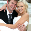 Lovely Wedding Couple at the Sea Side — Stock Photo