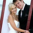 Beautiful Wedding Couple with Frame — Stock Photo #8887951