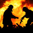 Two Fire Fighters and Huge Flames — Stock Photo #8955368