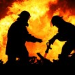 Stock Photo: Two Fire Fighters and Huge Flames