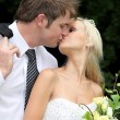 Wedding Couple Kissing — Stock fotografie