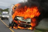 Burning Delivery Vehicle and Police Cars — Stockfoto
