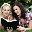 Beautiful Ladies Reading Book — Stock Photo