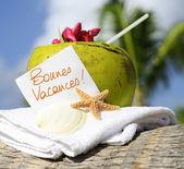 Caribbean paradise beach coconuts cocktail — Stock Photo