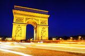триумфальная арка. bty ночь. париж, франция — Стоковое фото