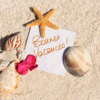 Blank paper beach sand starfish shells summer — Stock Photo #9899120