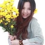 Active Chinese girl Gardening — Stock Photo #10098172