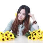 Active Chinese girl Gardening — Stock Photo #10098247