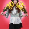 Stock Photo: A Beautiful Chinese girl with many flowers.