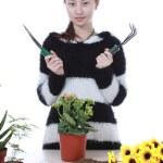 Active Chinese girl Gardening — Stock Photo #10099109