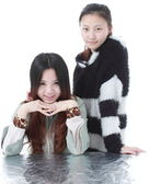Two Beautiful Chinese girl Isolated On White. — Stock Photo