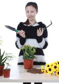 Active Chinese girl Gardening — Stock Photo