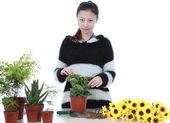 Active Chinese girl Gardening — Stock Photo