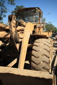 Heavy Duty Construction Equipment Parked at Worksite — Stok fotoğraf