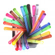 Many Colorful stationery of an assortment on a table. - Foto de Stock