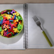 Many Colorful stationery of an assortment on a table. — Foto de Stock