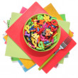 Many Colorful stationery of an assortment on a table. — Foto Stock