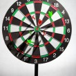 Dart hit the target on a butt target. - Foto de Stock