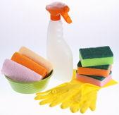 Veel schoonmaak apparatuur groep objecten. — Stockfoto