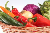 Colorful vegetable arrangement — Stok fotoğraf