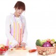 A Chinese woman is cooking various kinds vegetable. — Stock Photo #9491149