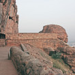 Fort atop rocky mountain and cave temples at Badami — 图库照片