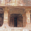 Sculpture at entrance of Cave at Badami - Stock Photo