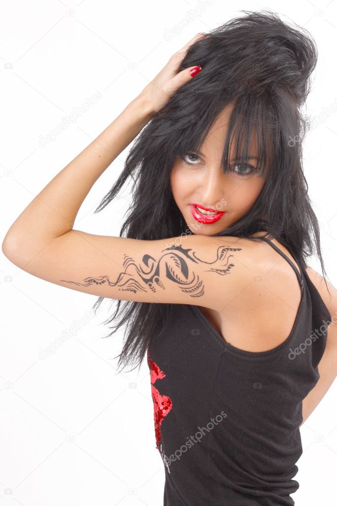 Beautiful tattooed girl in black clothes with bright cosmetics   Stock Photo #9326554