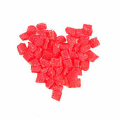 Red Heart made of candies — Stock Photo