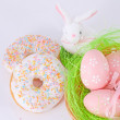 Easter eggs and rabbit — Stok fotoğraf