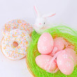 Easter eggs and rabbit — Foto de Stock