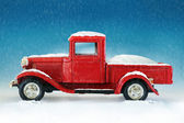 Christmas red truck — Stock Photo