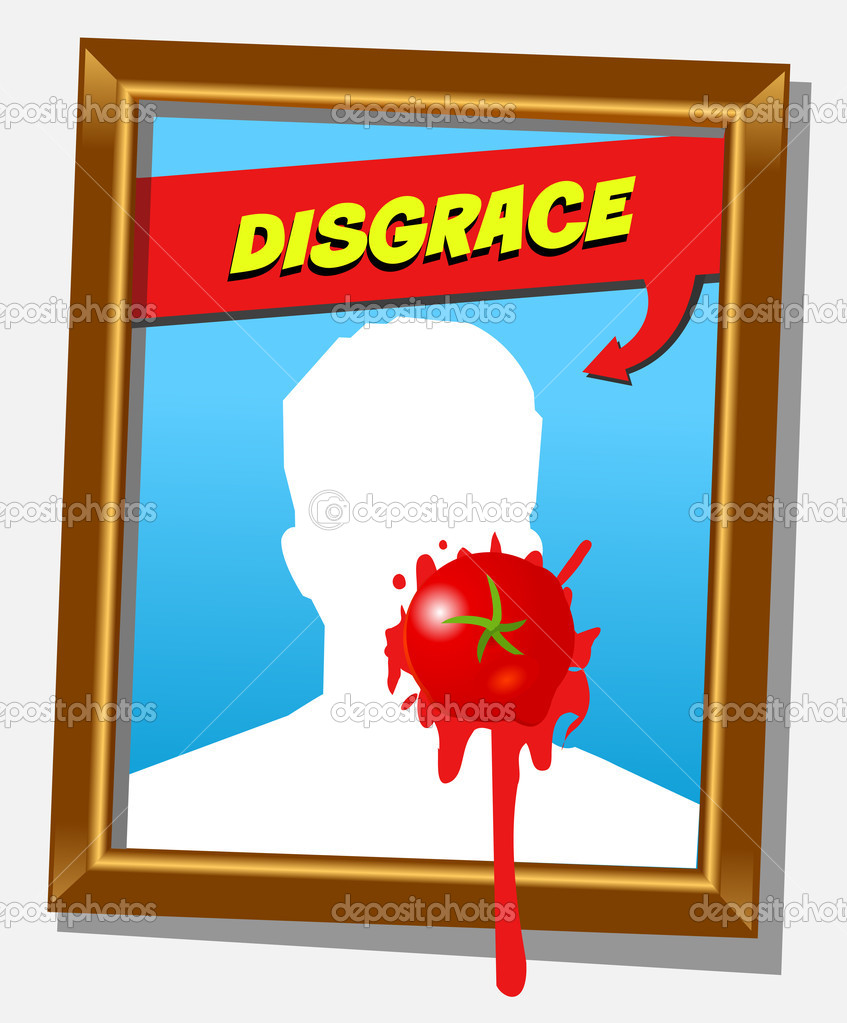 Vector frame with faceless man and splashed tomato. For propaganda and funny concepts. Replace the photo with your favorite one!!! — Stok Vektör #9889627