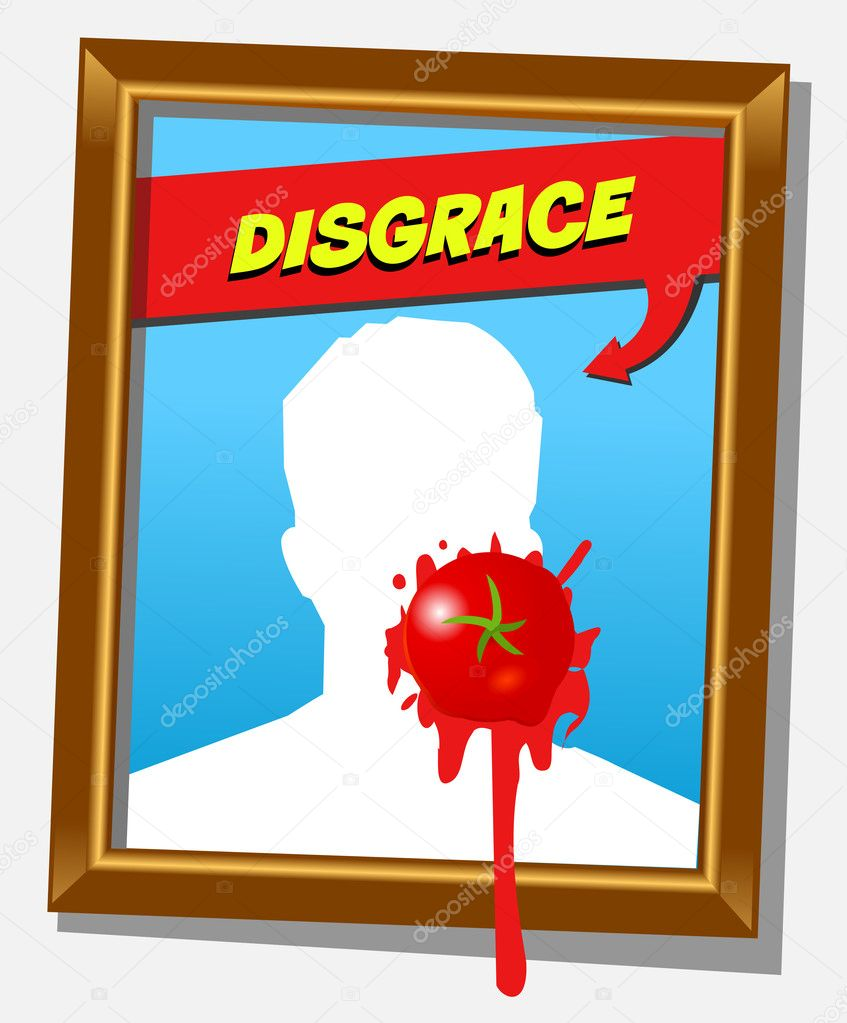 Vector frame with faceless man and splashed tomato. For propaganda and funny concepts. Replace the photo with your favorite one!!!  Stockvectorbeeld #9889627