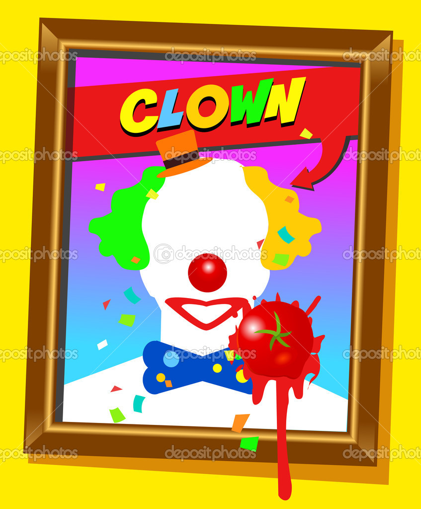 Vector frame with faceless man like clown and splashed tomato. For propaganda and funny concepts. Replace the photo with your favorite one.  Stock Vector #9899087