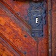Old handle in wooden doors - frontal view — Stock Photo #8027310
