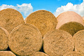 Hay bales stacked in a pile, with blue sky above — Stock Photo