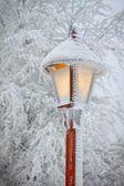 Streetlight in snow v — Stock Photo