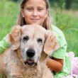 Little girl and her beloved dog — Stock Photo