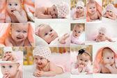 儿童的不同照片的抽象拼贴画 — 图库照片