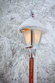 Streetlight op winter — Stockfoto